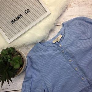 Loft Blouse- Blue Y Neck Bell Sleeve Loose- Medium